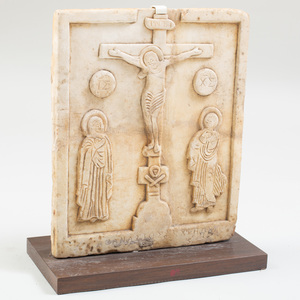Post Byzantine Carved Marble Panel