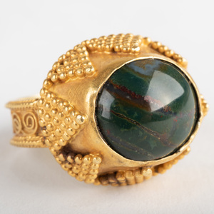 22k Granulated Gold and Blood Stone Ring