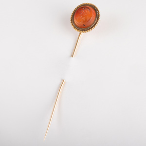 Carnelian Agate Intaglio Stick Pin with the Head of Julio Claudian Prince