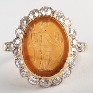 Carnelian Agate Intaglio of Fortuna, Set in a Gold and Diamond Ring