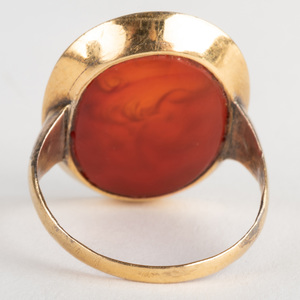 Carnelian Agate Intaglio of Hercules, Set in a Gold Ring