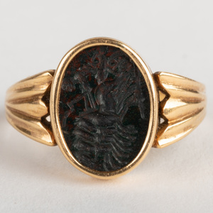 Black Agate Intaglio of Nike in Her Chariot, Set in a Gold Ring