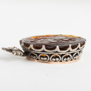Carved Glass Intaglio, Set in Silver with Diamonds