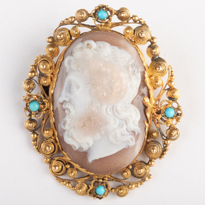 Neoclassical Carved Agate Cameo of Zeus-Ammun, Set in a Gold Pin Frame with Turquoise