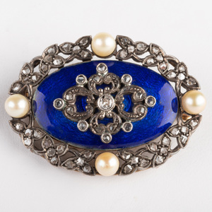 Silver, Gold, Enamel, Seed Pearl and Diamond Brooch