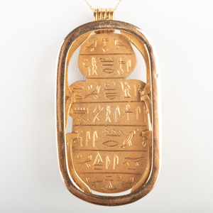 Steatite Scarab and 18k Gold Pendant