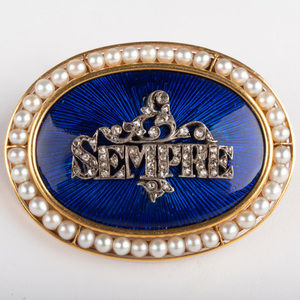 Gold, Enamel, Seed Pearls and Diamond Brooch