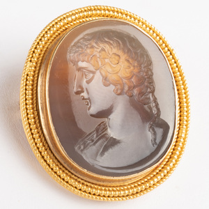 Neoclassical Agate Intaglio of Antinuous, Set in a Gold Pin