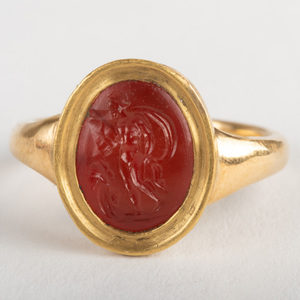 Carnelian Agate Intaglio of a Warrior and His Armor, Set in a Gold Ring
