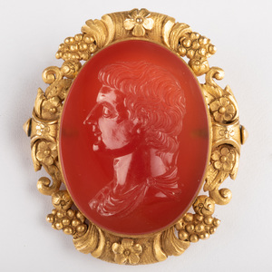 Neoclassical Carnelian Agate Intaglio of Tiberius, Set in a Gold Pin