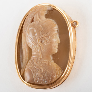 Neoclassical Carved Agate Cameo of Athena