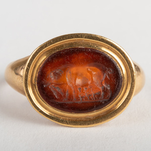 Carnelian Agate Intaglio of a Pig, Set in a Gold Ring