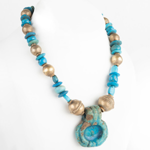 Egyptian Faience Necklace with Amulet