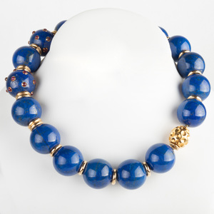 Lapis Bead and 14k Gold Bead Necklace