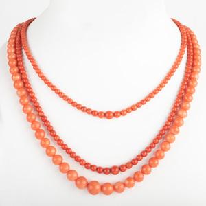 Three Vintage Coral Bead Necklaces