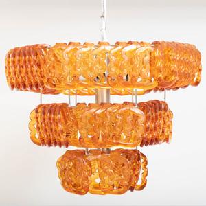 Angelo Mangiarotti Chrome and Glass 'Giogali' Hanging Light