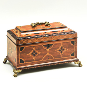 English Chippendale Brass-Mounted Inlaid Mahogany Tea Caddy