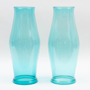 Pair of Green Glass Hurricane Shades