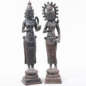 Two Indian Bronze Figures of Attendants