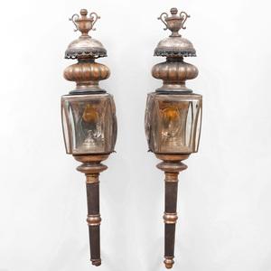 Pair of Large Brass Carriage Lanterns