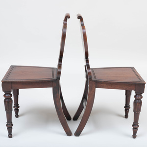 Pair of William IV Carved Mahogany and Painted Hall Chairs