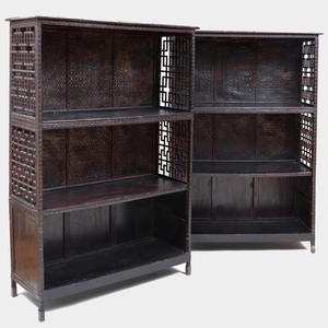 Pair of Asian Black Painted Bamboo, Woven Reed and Wood Fretwork Open Cabinets