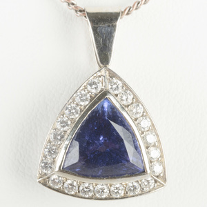 Tanzanite, Diamond and 14k White Gold Pendant