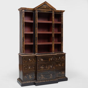 Early George III Japanned Small Breakfront Cabinet