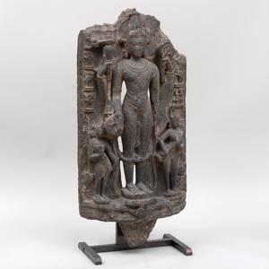 Indian Pala Style Black Stone Stele of Vishnu and Consorts, Eastern India, Bengal Region