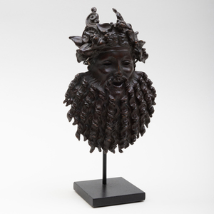 French Bronze Mask of Silenus, After the Antique