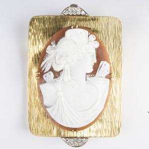 18k Gold and Diamond Cameo Pendant/Brooch