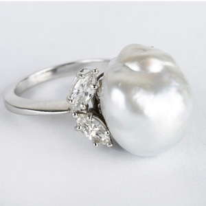 David Webb Cultured Baroque Pearl, Platinum and Diamond Ring