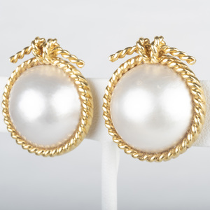 Verdura 18k Gold and Pearl Earclips