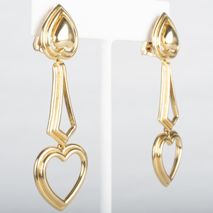 Boucheron 18k Gold Heart Drop Earrings