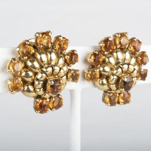 18k Gold and Citrine Fan Shape Earclips
