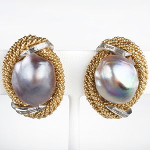 14k Gold Baroque Pearl and Diamond Earclips