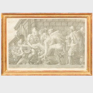 Master FG (active mid-16th Century), After Francesco Primaticcio (1504-1570): The Wounded Paris Carried from the Field of Battle