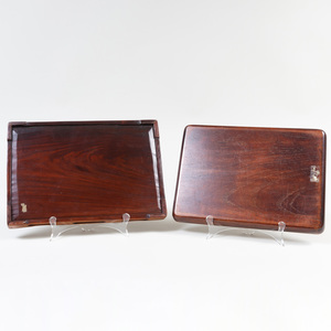 Two Chinese Carved Hardwood Trays