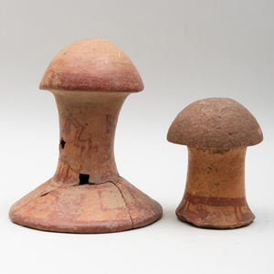 Two Mayan Painted Terracotta Mushroom Stones