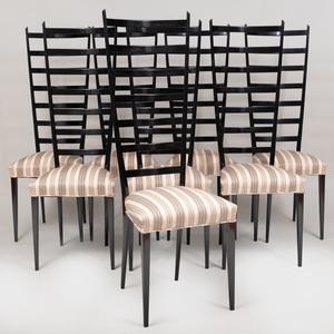 Set of Eight Italian Chiavari Style Black Chairs