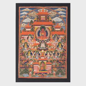 Three Tibetan Thangkas Depicting Padmasabhava, Avalokiteshvara and Amitabha