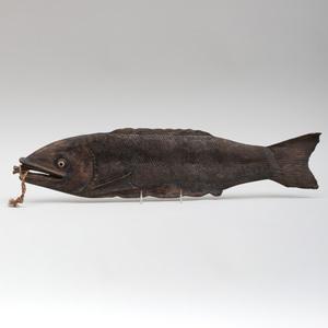 American Folk Art Carved Wood Fish Form Sign