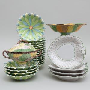 Assembled Mottahedeh Porcelain Floriform Tablewares