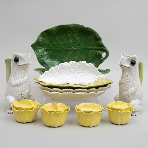 Pair of Italian Porcelain Frog Pitchers and a Group of Continental Leaf Form Wares