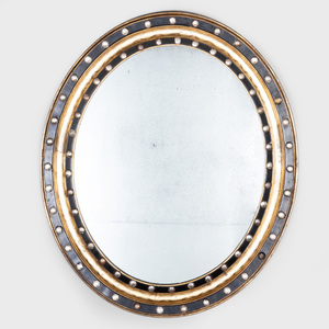 Large Irish Ebonized Silver-Gilt and Beaded Glass Oval Mirror