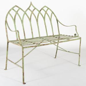 Victorian Neo-Gothic Cast-Iron Green Painted Garden Bench