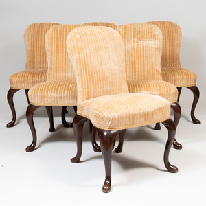 Set of Six Queen Anne Style Mahogany Side Chairs, 20th Century