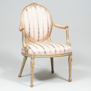 George III Style Painted and Parcel-Gilt Armchair