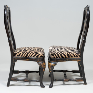 Pair of Queen Anne Black Lacquer and Parcel-Gilt Side Chairs