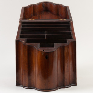 George III Style Inlaid Mahogany Slant Front Knife Box, Later Fitted as a Letter Box